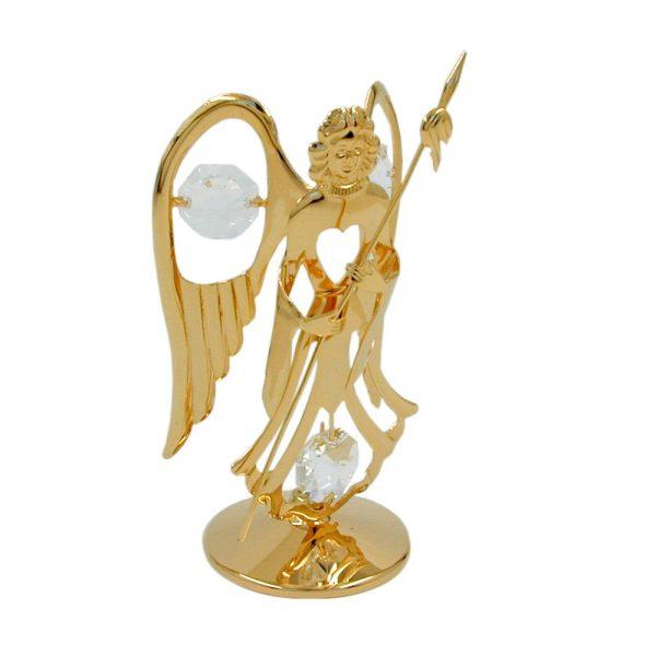 Ange avec lance avec des elements de cristal plaque or 70300xx