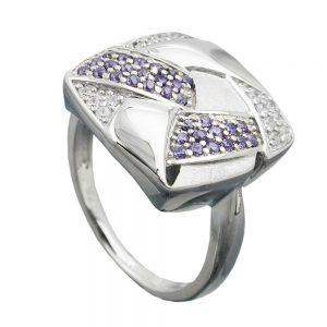 Anneau de nombreux Zircons argent 925 Krossin bijoux en argent 94051 54xx