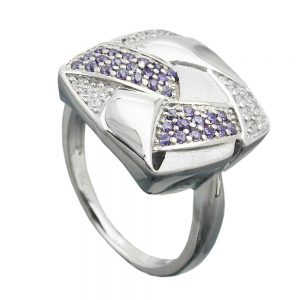 Anneau de nombreux Zircons argent 925 Krossin bijoux en argent 94051 58xx