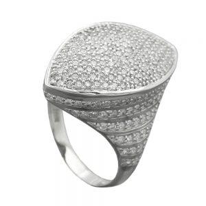 Anneau de nombreux Zircons argent 925 Krossin bijoux en argent 94053 58xx