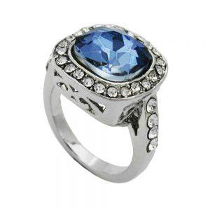 Anneau grand bleu transparent verre pierre 01221 52xx