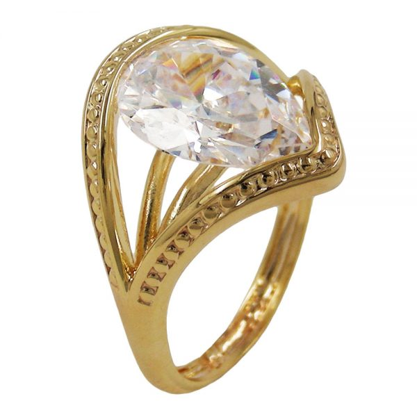 Bague 18mm zircon plaque or 18 carats 30197 58xx