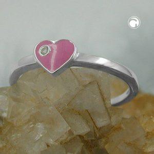 Bague Zircon rose coeur argent 925 Krossin bijoux en argent 93115x