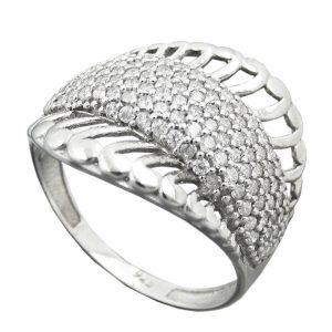 Bague avec beaucoup de Zircon argentee 925 Krossin bijoux en argent 94068 56xx
