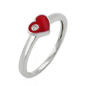 Bague coeur rouge avec Zircon argent 925 Krossin bijoux en argent 93116xx