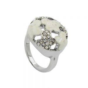 Bague email blanc et cristaux de verre rhodies 01217 56xx