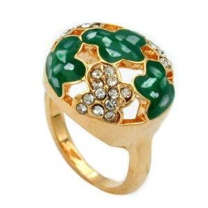 Bague email vert et cristaux de verre plaque or 01220 54xx
