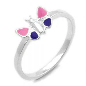 Bague papillon rose violet argent 925 Krossin bijoux en argent 93118xx