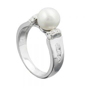 Bague perle et Zircons argent 925 Krossin bijoux en argent 94044 56xx