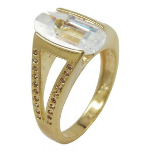 Bague plaque or 18 carats 14mm zircon 30205 64xx