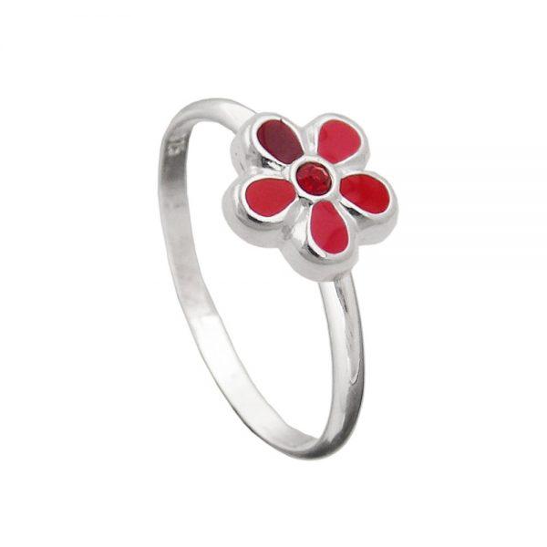 Bague pour enfants fleur rouge argent 925 Krossin bijoux en argent 91631 42xx