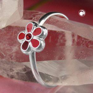 Bague pour enfants fleur rouge argent 925 Krossin bijoux en argent 91631x