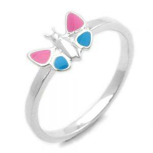 Bague rose bleu papillon argent 925 Krossin bijoux en argent 93117xx