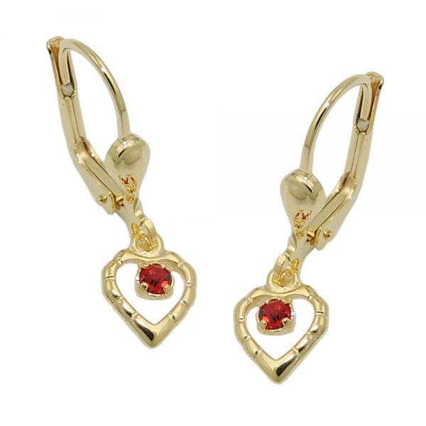 Boucle d oreille coeur rouge 8k or 431372xx