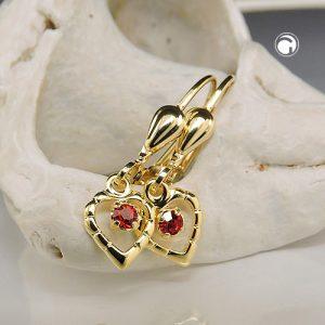 Boucle d oreille coeur rouge 8k or Krossin bijoux or 431372x