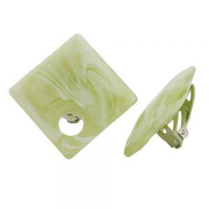Boucle doreille clip on perles carrees vert clair blanc 25x25mm 00940xx