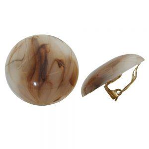 Boucle doreille clip ronde beige marron marbre 30mm 00952xx
