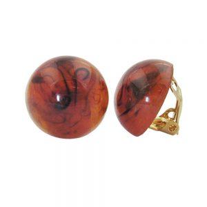 Boucle doreille clip ronde brun marbre 18mm 00953xx