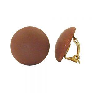 Boucle doreille clip ronde marron fonce mat 18mm 00957xx