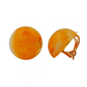 Boucle doreille clip ronde orange marbree 18mm 00022xx