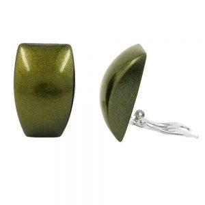 Boucle doreille clip trapeze vert or 00883xx