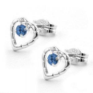Boucle doreille coeur bleu argent 925 Krossin bijoux en argent 90747xx