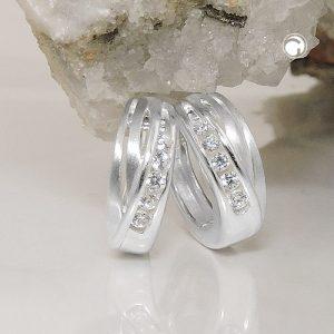Boucle doreille zircons argent 925 Krossin bijoux en argent 93502x