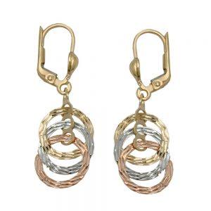 Boucles d oreilles 3 cercles suspendus 9 carats 431238xx
