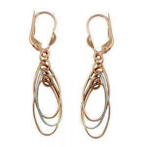 Boucles d oreilles 3 ovales suspendus 9 k rouge or 430317xx
