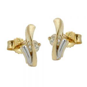Boucles d oreilles a deux tons avec zircons 9k or 430073xx