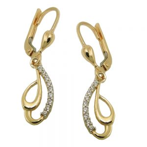 Boucles d oreilles a levier Zircons or 9 carats 431432xx