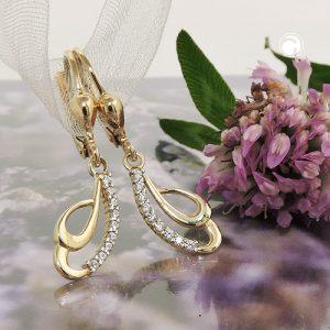 Boucles d oreilles a levier Zircons or 9 carats Krossin bijoux or 431432x