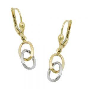 Boucles d oreilles a levier bicolore en or 9 carats 431409xx
