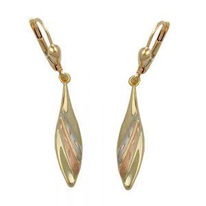 Boucles d oreilles a levier tricolore en or 9 carats 431240xx