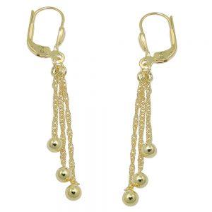 Boucles d oreilles avec 3 chaines en or 8k 431373xx