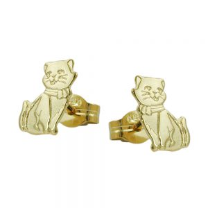 Boucles d oreilles clous chats en finition or mat 8 carats 430804xx