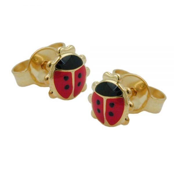Boucles d oreilles clous coccinelle or 9 carats 431260xx