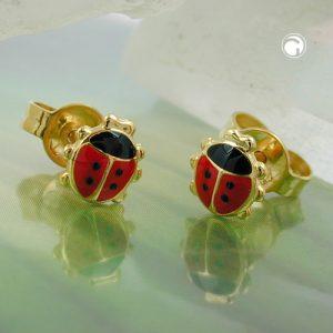Boucles d oreilles clous coccinelle or 9 carats Krossin bijoux or 431260x