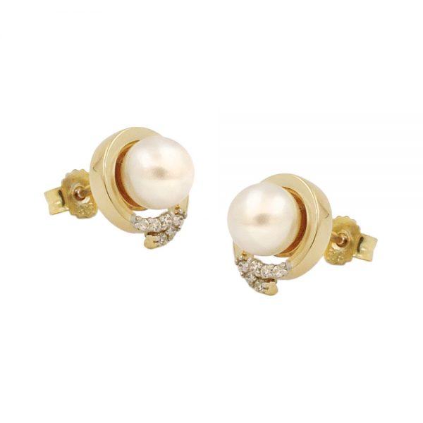 Boucles d oreilles clous zircon perle 9 carats 431362xx
