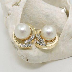 Boucles d oreilles clous zircon perle 9 carats Krossin bijoux or 431362x