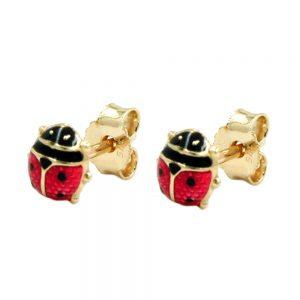 Boucles d oreilles coccinelle rouge noir 9k or 430548xx