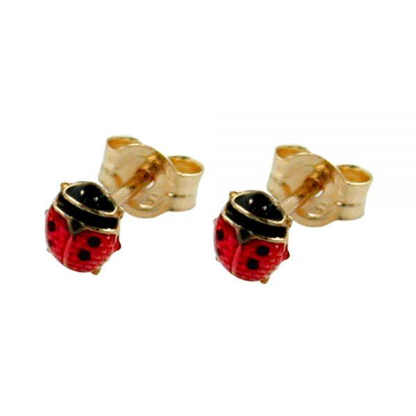 Boucles d oreilles coccinelle rouge noir 9k or 430818xx