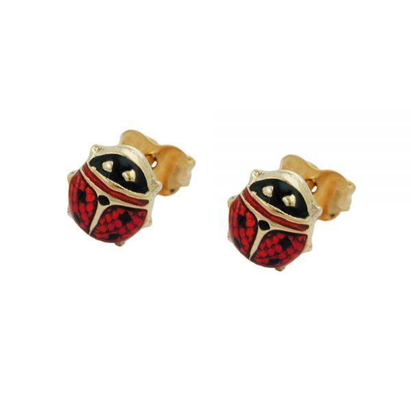 Boucles d oreilles coccinelle rouge noir 9k or 430982xx
