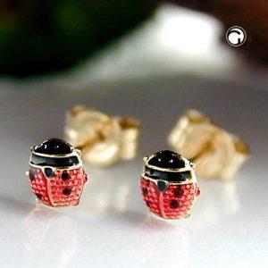 Boucles d oreilles coccinelle rouge noir 9k or Krossin bijoux or 430818x