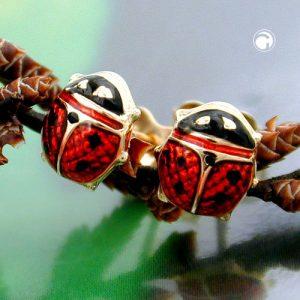 Boucles d oreilles coccinelle rouge noir 9k or Krossin bijoux or 430982x