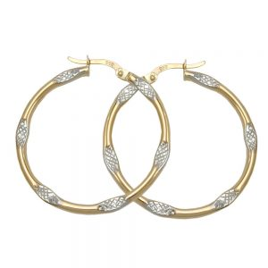 Boucles d oreilles creoles bicolores en or 9 carats 430386xx