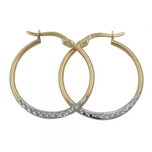 Boucles d oreilles creoles bicolores en or 9 carats 431171xx