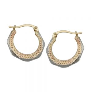Boucles d oreilles creoles bicolores en or 9 carats 431320xx