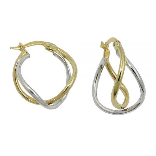Boucles d oreilles creoles bicolores en or 9 carats 431408xx