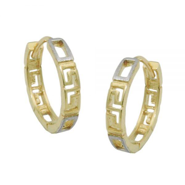 Boucles d oreilles creoles bicolores en or 9 carats 431439xx